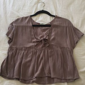 Urban outfitters taupe tie front crop top